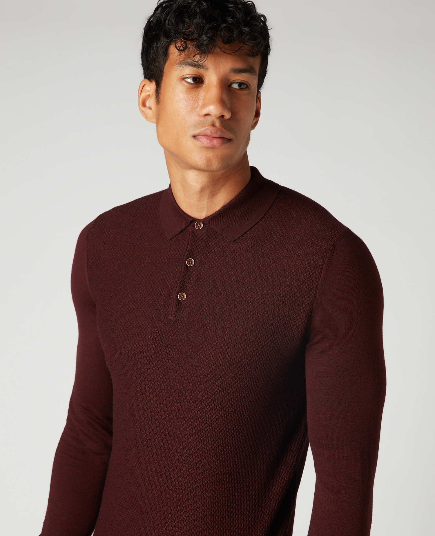 Remus Uomo Burgundy long sleeved polo
