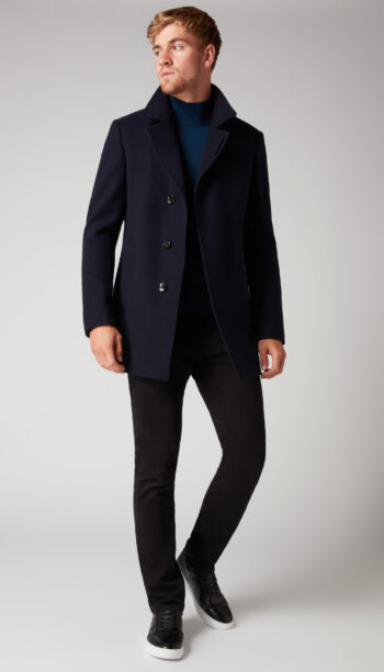 Remus Uomo Navy wool overcoat