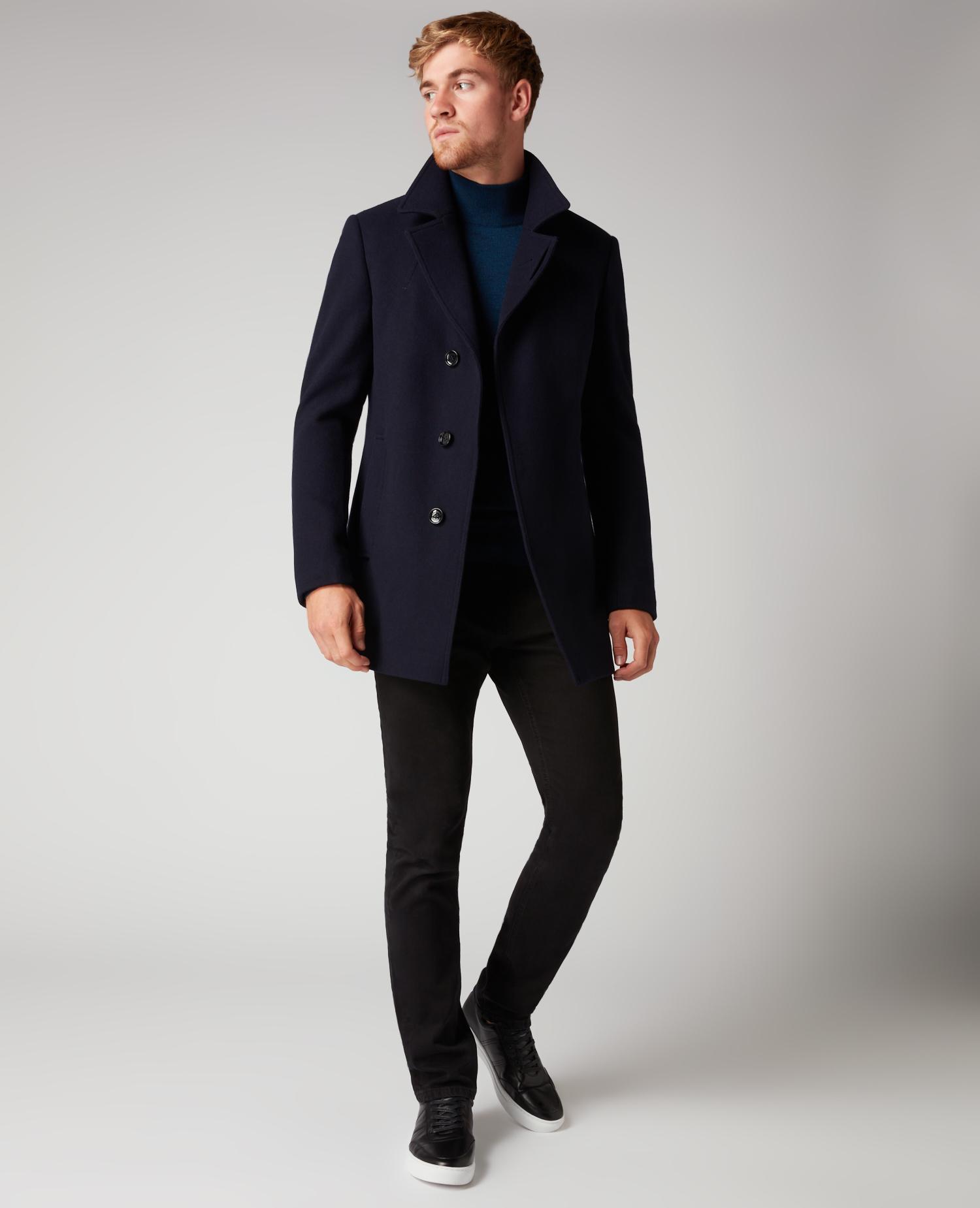 Remus Uomo Navy wool overcoat