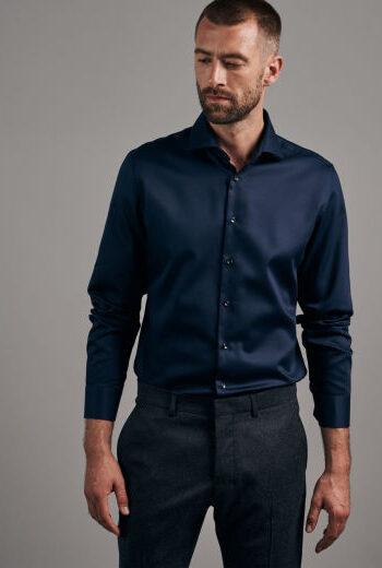 Seidensticker Plain navy Twill shirt