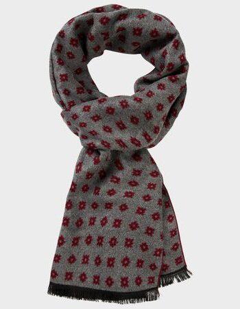 Michaelis Bordeaux Grey woven scarf