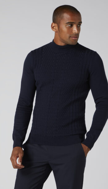 Remus Uomo Navy Turtle Neck Sweater
