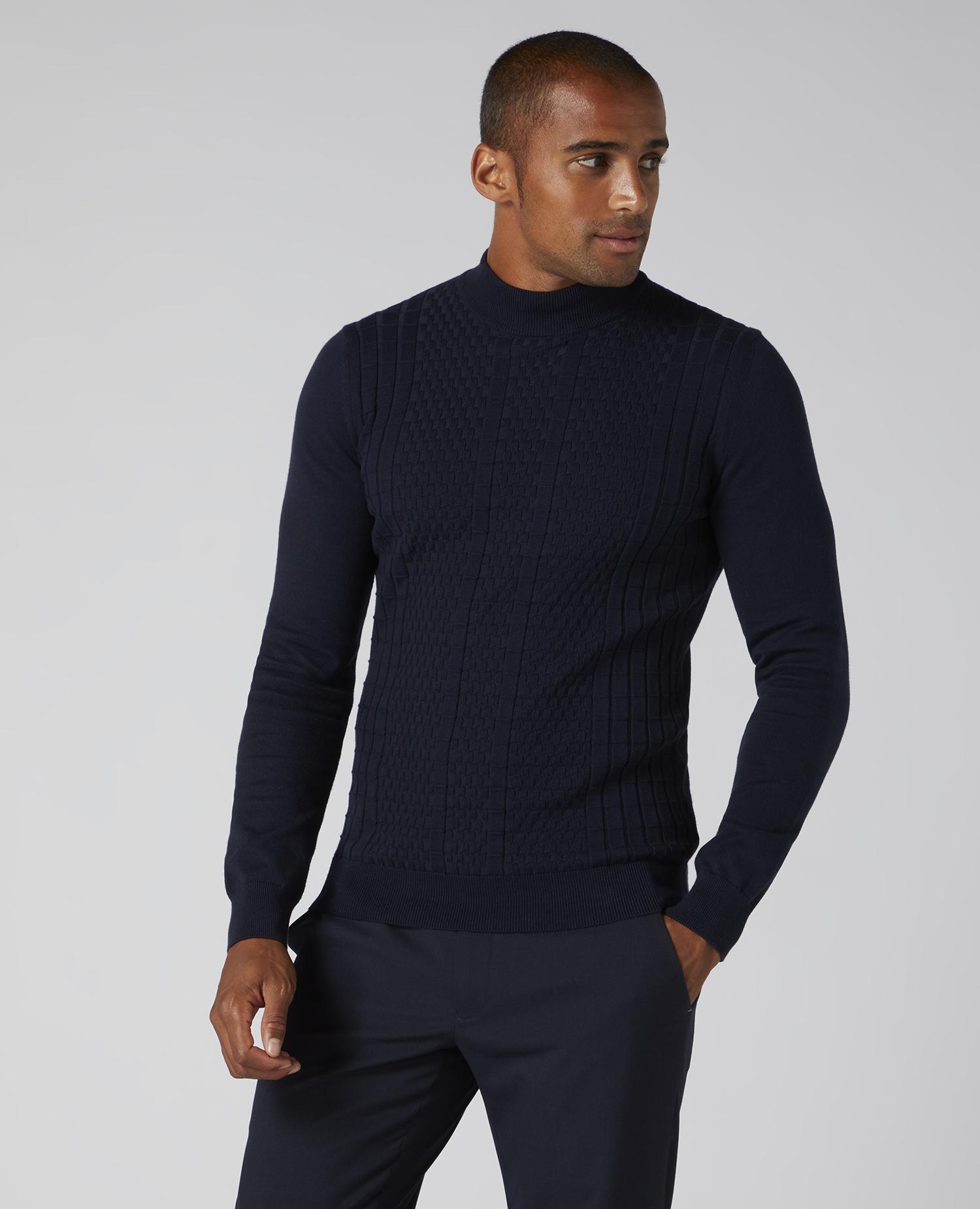 Remus Uomo Navy Turtle Neck Sweater