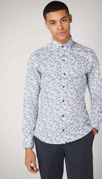 Remus Uomo Slim Blue printed shirt