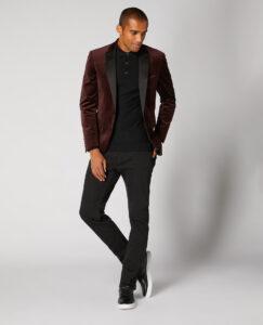 Remus Uomo. Burgundy. Velvet Tuxedo Jacket and Matching Waistcoat