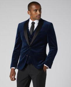 Remus Uomo. Dark Blue Velvet. Tuxedo Jacket and Waistcoat